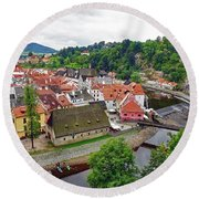 A View Overlooking The Vltava River And Cesky Krumlov In The Czech Republic Round Beach Towel