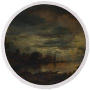 A Village By A River In Moonlight Round Beach Towel