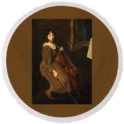 A Young Violoncellist Round Beach Towel