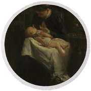 A Young Woman Nursing A Baby Round Beach Towel