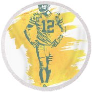 Aaron Rodgers Green Bay Packers Water Color Art 1 Round Beach Towel