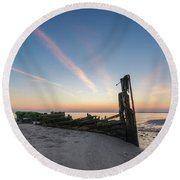 Abandoned Boat Sunset  Round Beach Towel
