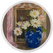 Abbott Graves 1859-1936 Flowers In A Blue Vase Round Beach Towel