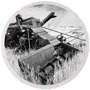 Abondoned Combine In Tall Grass Round Beach Towel