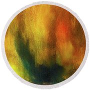 Abstract Background Structure With Oil Painting Texture In Tones Of Nature. Round Beach Towel