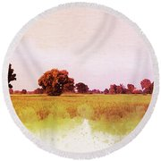 Abstract Beautiful Tree And Landscape For Background. Round Beach Towel