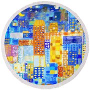 Abstract City Round Beach Towel