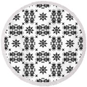Abstract Ethnic Seamless Floral Pattern Design Round Beach Towel