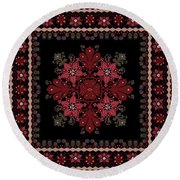 Abstract Ethnic Shawl Floral Pattern Design Round Beach Towel