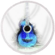 Abstract Guitar In The Foreground Close Up On Watercolor Painting Background. Round Beach Towel