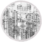 Abstract Industrial And Technology Background Round Beach Towel