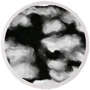Abstract Monochome 159 Round Beach Towel