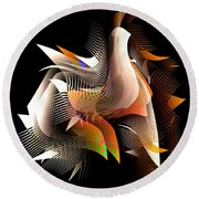 Abstract Peacock Round Beach Towel