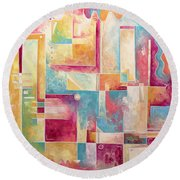 Abstract Pop Art Style Unique Pastel Painting Contemporary Art By Megan Duncanson Round Beach Towel