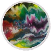 Abstract Resin Pour Round Beach Towel