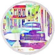 Abstract Watercolor - Havana Cuba Classic Car IIi Round Beach Towel