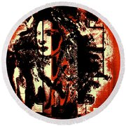 Abstract Woman Round Beach Towel