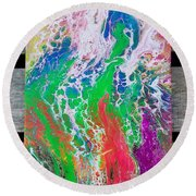 Acrylic Pouring Round Beach Towel