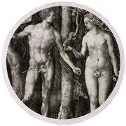Adam And Eve 1504  Round Beach Towel