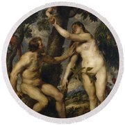 Adam And Eve Round Beach Towel