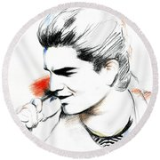 Adam Lambert Round Beach Towel by Lin Petershagen