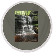 Aden Hill Waterfall Round Beach Towel by Kevin Croitz