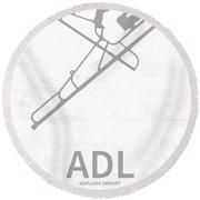 Adl Adelaide Airport In Adelaide Australia Runway Silhouette Round Beach Towel