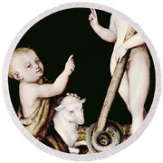 Adoration Of The Child Jesus By St John The Baptist Round Beach Towel