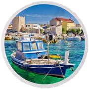 Adriatic Town Of Razanac Colorful Waterfront Round Beach Towel