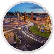 Aerial View On Placa Espanya And Montjuic Hill With National Art Round Beach Towel