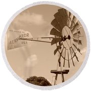 Aermotor Windmill Round Beach Towel