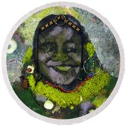 African Bead Painting Round Beach Towel