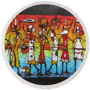 African Woman Carrying On Head Round Beach Towel