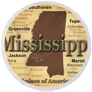 Aged Mississippi State Pride Map Silhouette  Round Beach Towel