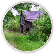 Aging Barn In Woods Series Round Beach Towel