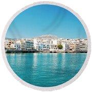 Agios Nikolaos Panorama Round Beach Towel