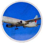 Air Canada Boeing 767 Art Round Beach Towel