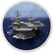 Aircraft Carrier Uss Ronald Reagan Round Beach Towel