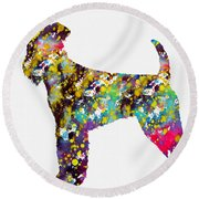 Airedale Terrier Round Beach Towel