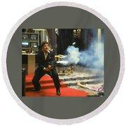 Al Pacino As Tony Montana With Machine Gun Blasting His Fellow Bad Guys Scarface 1983 Round Beach Towel