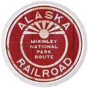 Alaska Railroad Aged Round Beach Towel