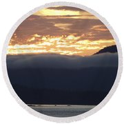 Alaskan Coast Sunset, View Towards Kosciusko Or Prince Of Wales  Round Beach Towel