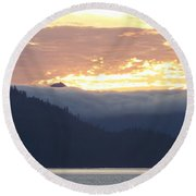 Alaskan Coast, View Towards Kosciusko Or Prince Of Wales Islands Round Beach Towel