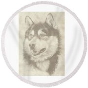 Alaskan Malamute And Pup Round Beach Towel