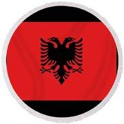 Albania Flag Round Beach Towel