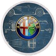 Alfa Romeo 3 D Badge Over 1938 Alfa Romeo 8 C 2900 B Vintage Blueprint Round Beach Towel
