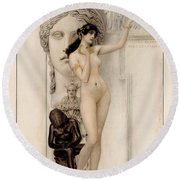 Allegory Of Sculpture Round Beach Towel