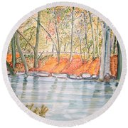 Along The Wissahickon Round Beach Towel