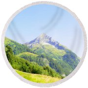 Alpine Mountain Peak Landscape. Round Beach Towel
