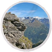 Alps Mountain Landscape  Round Beach Towel